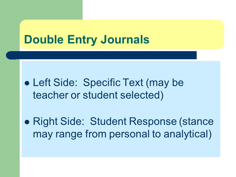 Double Entry JournalsLeft Side: Specific Text (may be teacher or student selected)