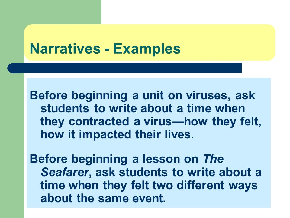 Narratives - Examples