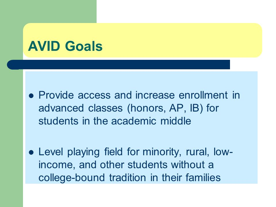 AVID Goals Provide access and increase enrollment in advanced classes (honors, AP, IB) for students in the academic middle.
