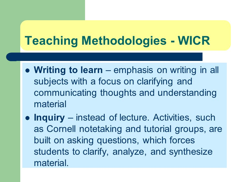 Teaching Methodologies - WICR