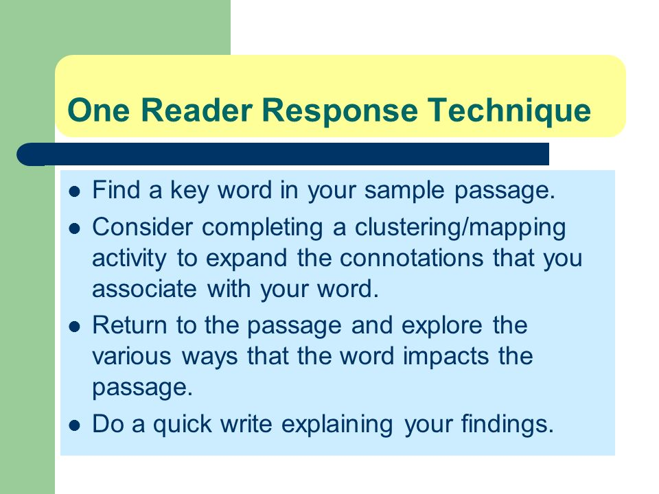 One Reader Response Technique