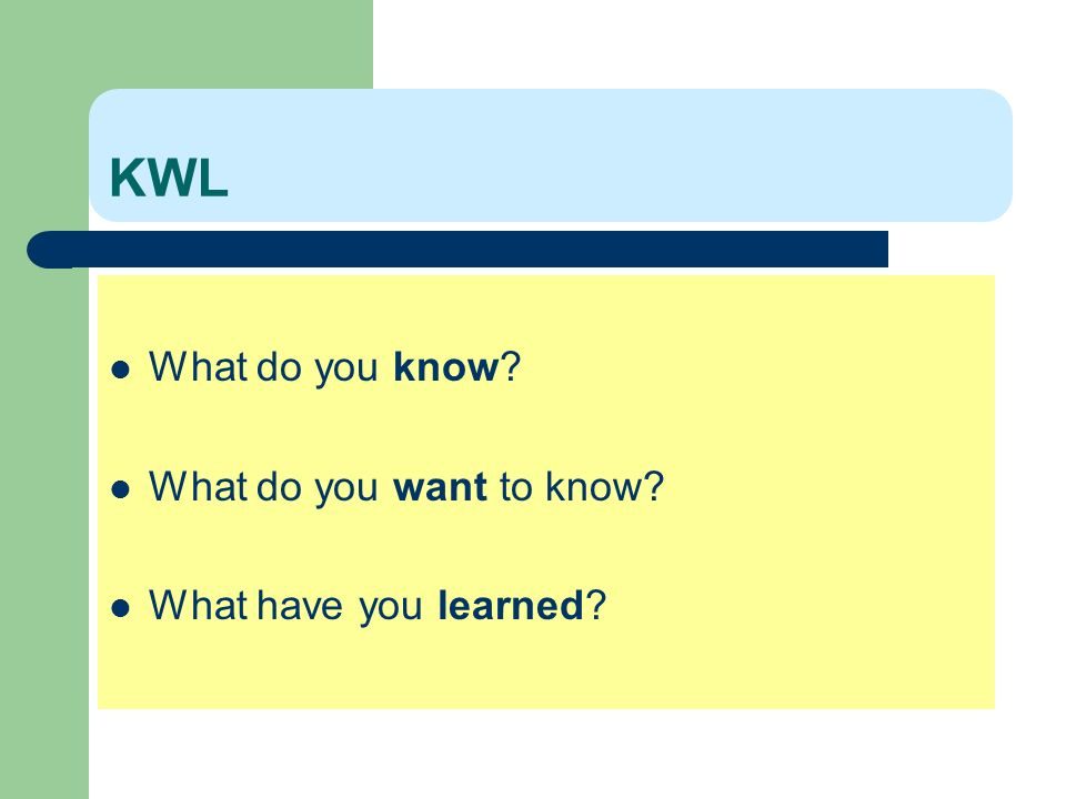 KWL What do you know What do you want to know What have you learned