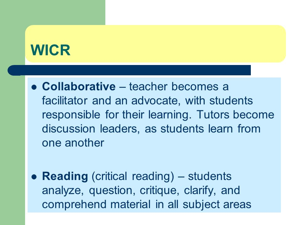 Collaborative Classroom Being A Reader ~ Avid instructional strategies writing to learn ppt