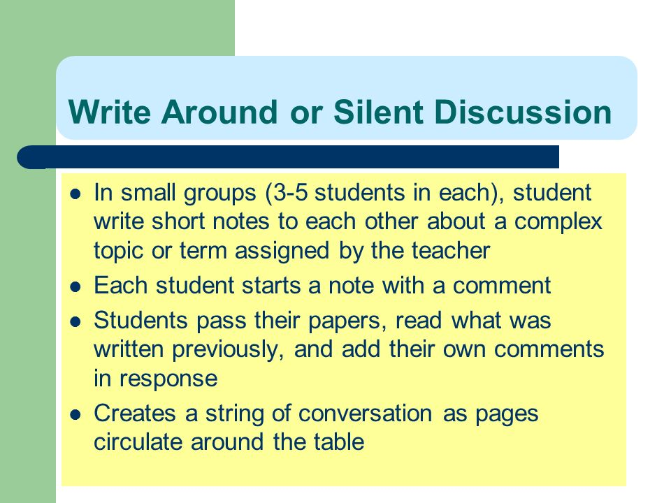 Write Around or Silent Discussion