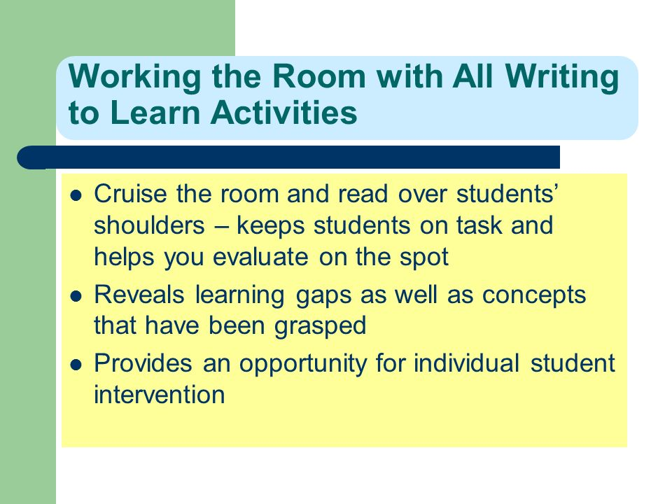 Working the Room with All Writing to Learn Activities