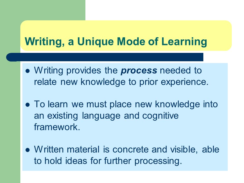 Writing, a Unique Mode of Learning