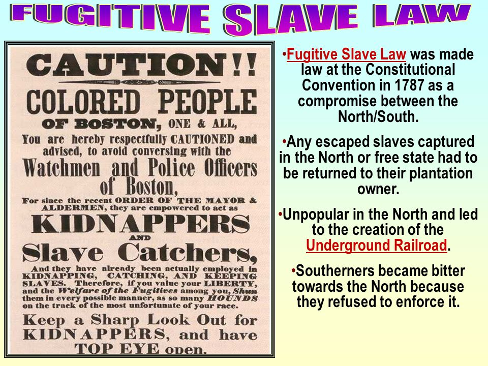 FUGITIVE SLAVE LAWFugitive Slave Law was made law at the Constitutional Convention in 1787 as a compromise between the North/South.