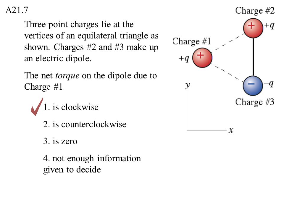 A21.7 Three point charges lie at the vertices of an equilateral triangle as shown. Charges #2 and #3 make up an electric dipole.