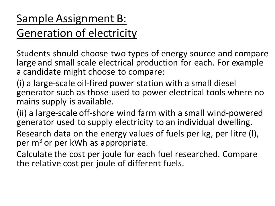 Sample Assignment B: Generation of electricity
