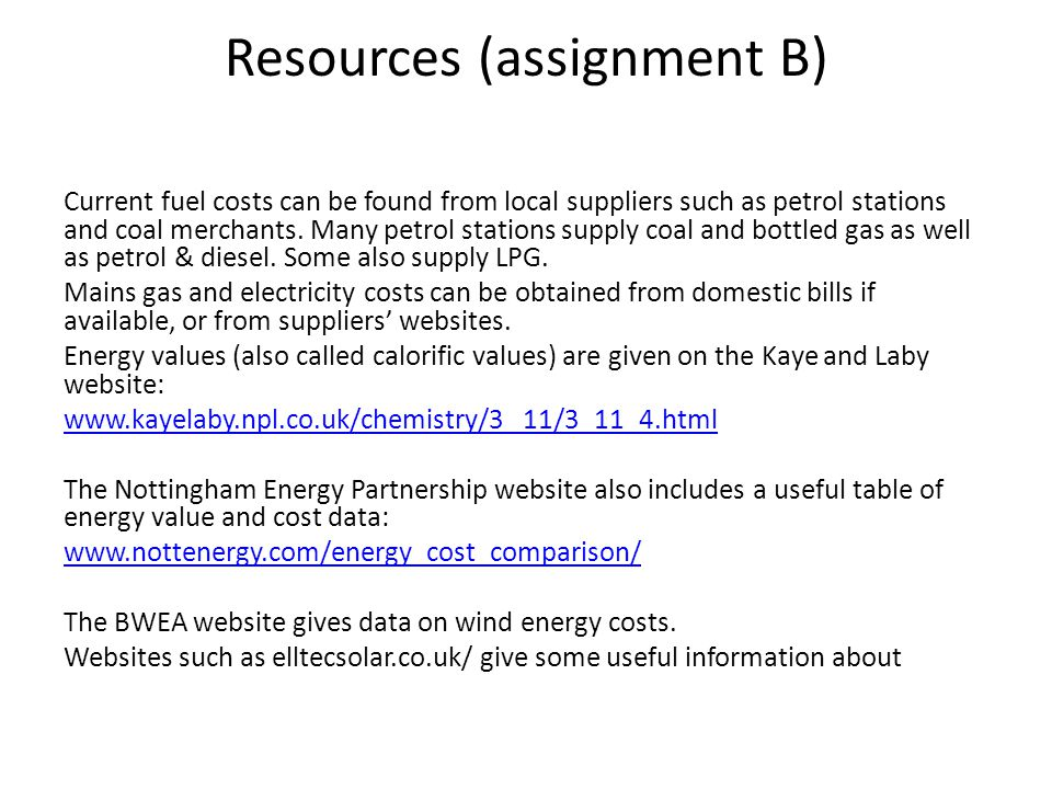 Resources (assignment B)