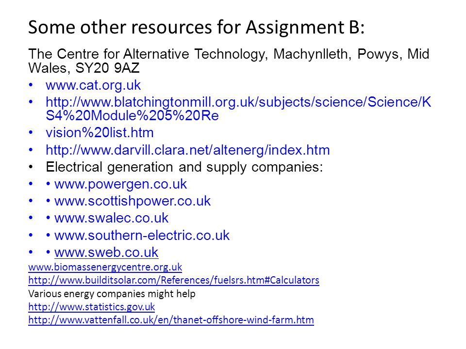 Some other resources for Assignment B: