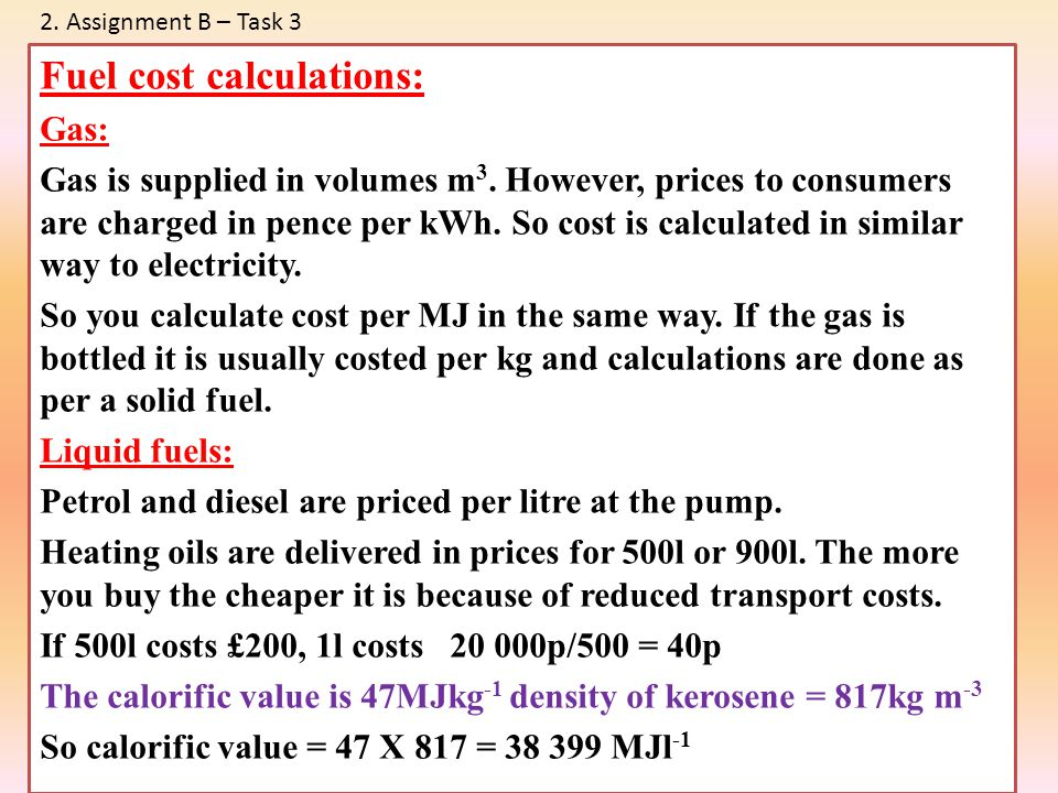 Fuel cost calculations: