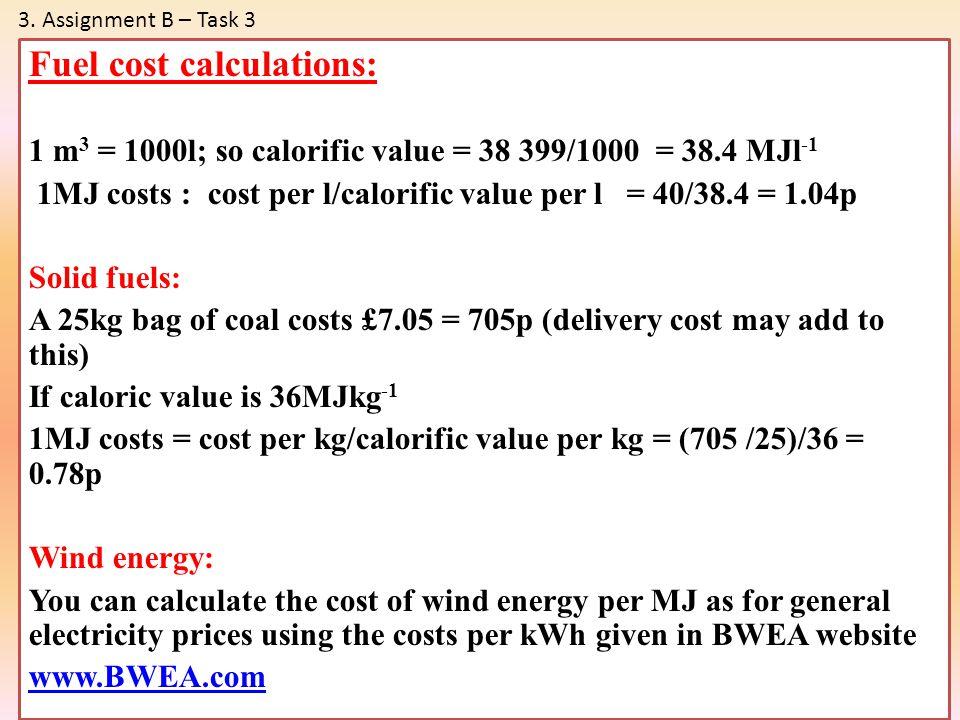 Fuel cost calculations: