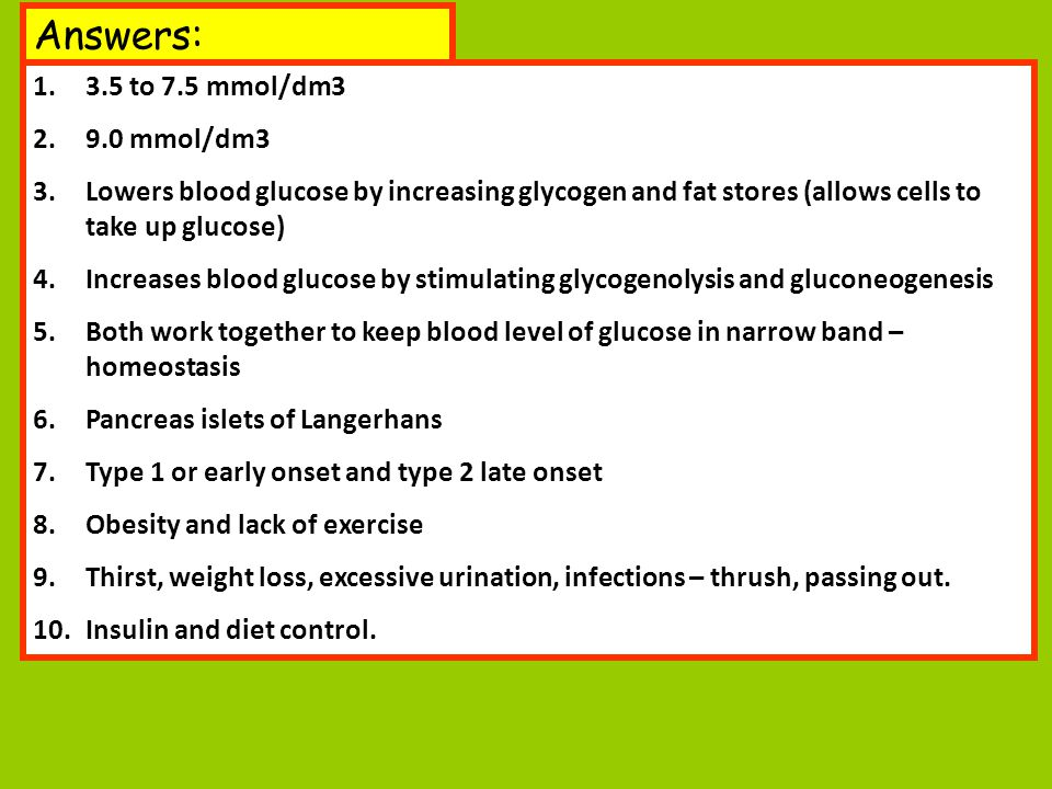 Answers: 3.5 to 7.5 mmol/dm3 9.0 mmol/dm3