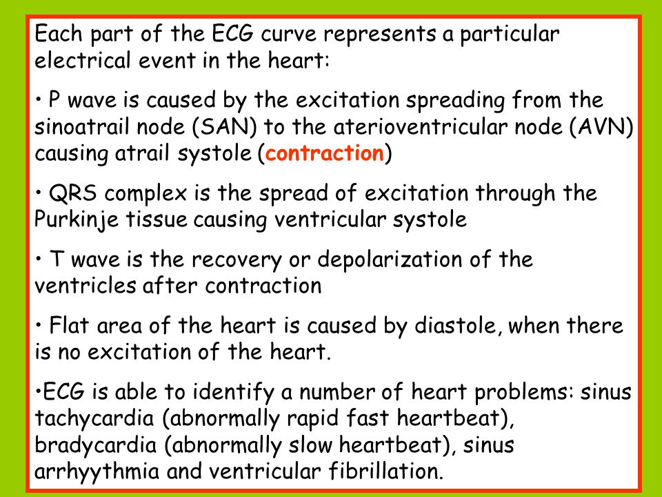 Each part of the ECG curve represents a particular electrical event in the heart: