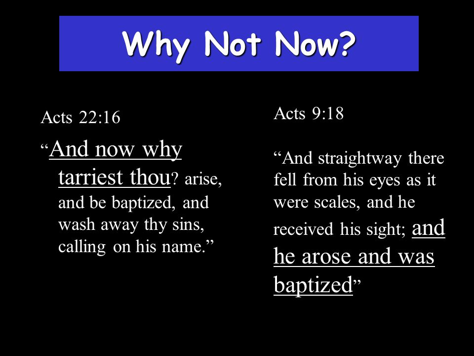 Why Not Now Acts 9:18. And straightway there fell from his eyes as it were scales, and he received his sight; and he arose and was baptized