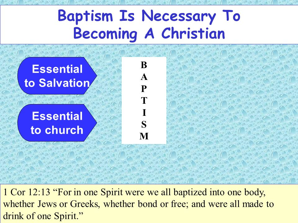 Baptism Is Necessary To