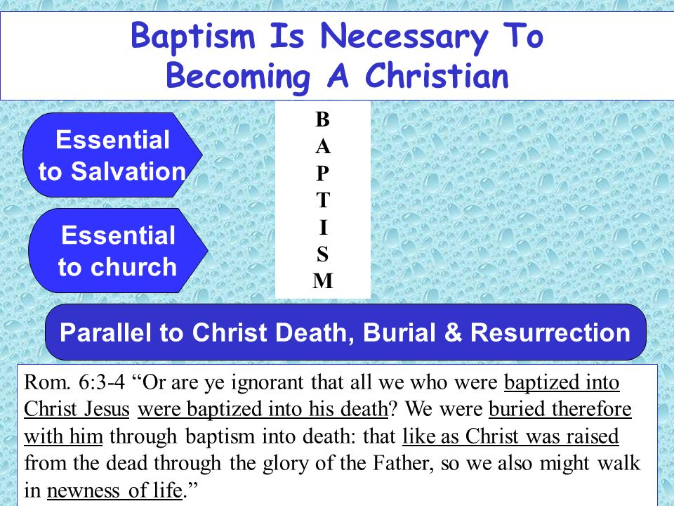 Baptism Is Necessary To Becoming A Christian