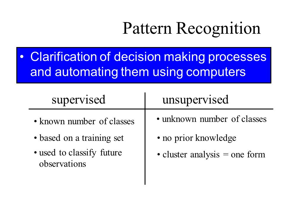 Pattern Recognition Clarification of decision making processes and automating them using computers.