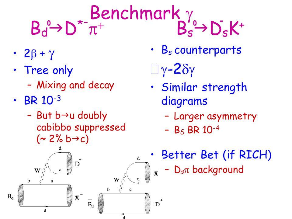 Benchmark g BdgD*-p+ BsgDsK+ - g-2dg 2b + g Tree only BR 10-3