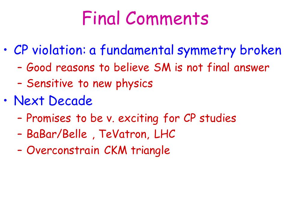 Final Comments CP violation: a fundamental symmetry broken Next Decade