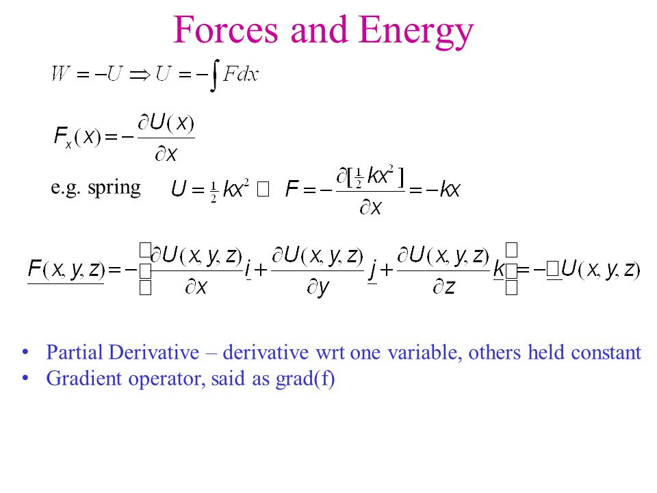 Forces and Energy e.g. spring