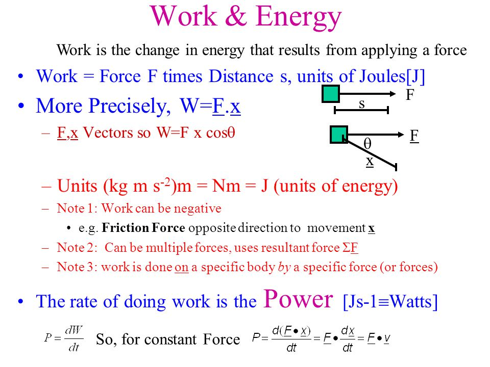 Work is the change in energy that results from applying a force