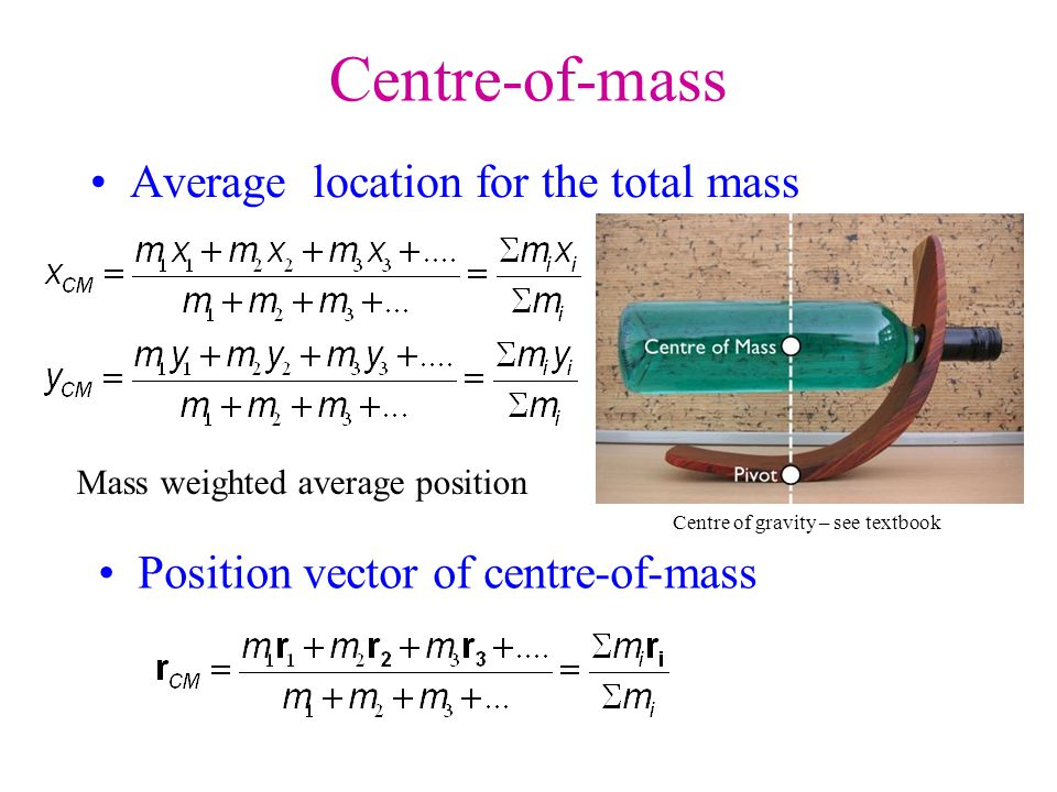 Centre-of-mass Average location for the total mass
