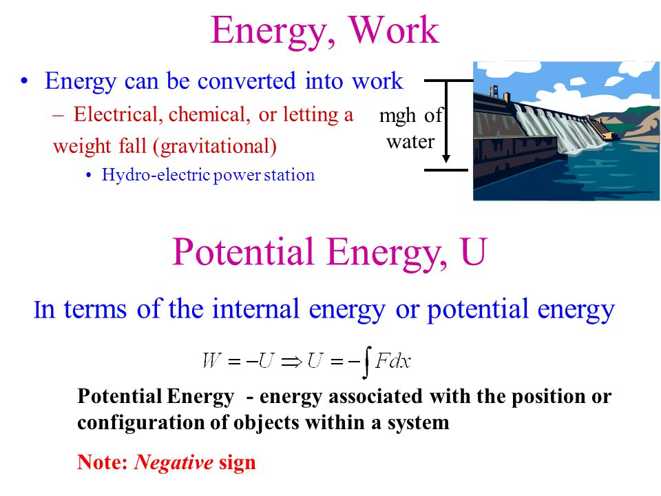 Energy, Work Potential Energy, U Energy can be converted into work