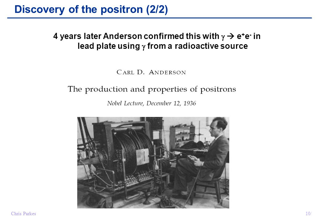 Discovery of the positron (2/2)