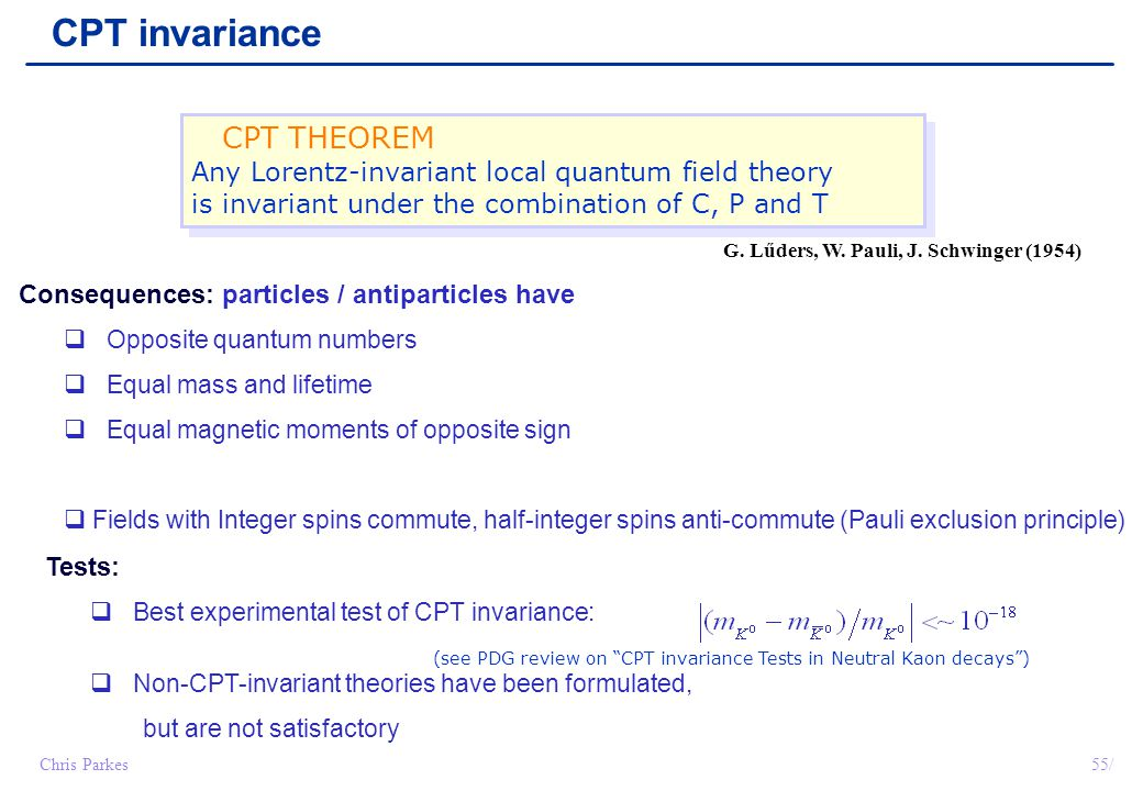 CPT invariance CPT THEOREM