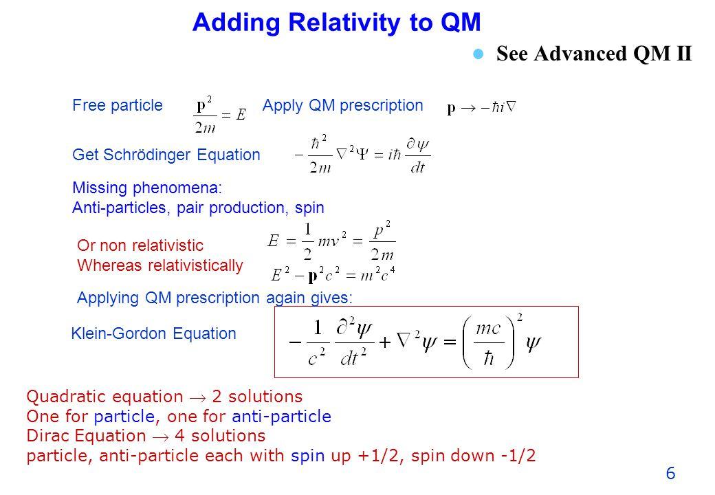 Adding Relativity to QM