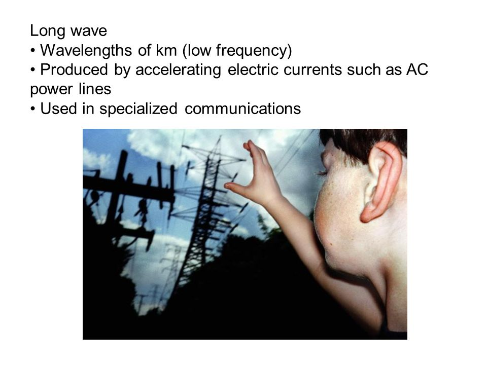 Long wave Wavelengths of km (low frequency) Produced by accelerating electric currents such as AC power lines.