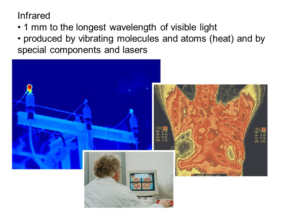 Infrared 1 mm to the longest wavelength of visible light.