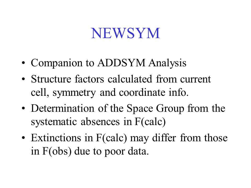 NEWSYM Companion to ADDSYM Analysis