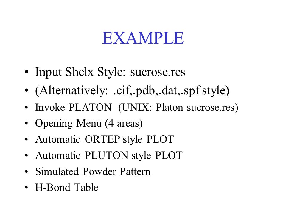 EXAMPLE Input Shelx Style: sucrose.res