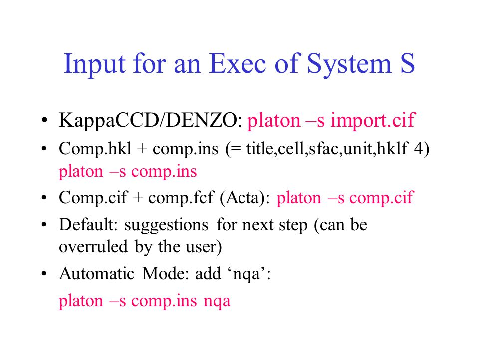 Input for an Exec of System S