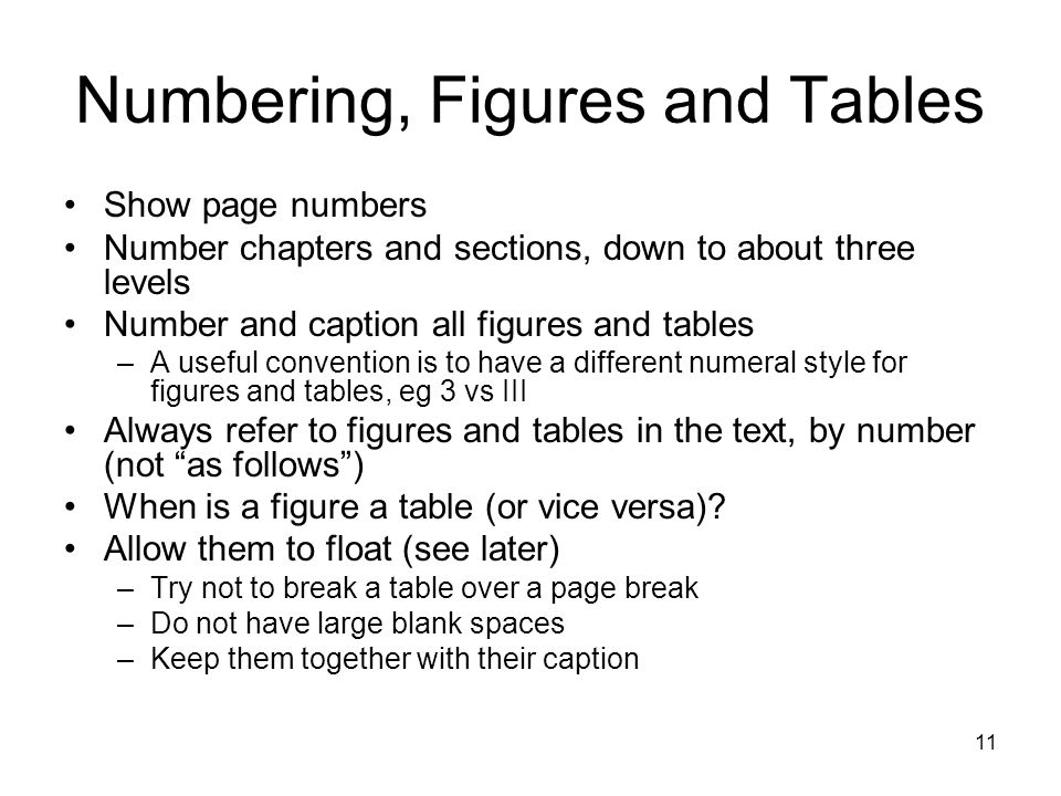 Numbering, Figures and Tables