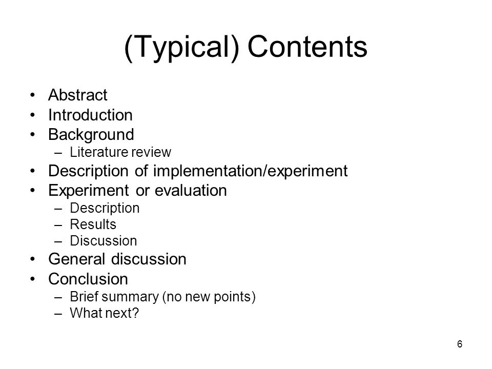 (Typical) Contents Abstract Introduction Background