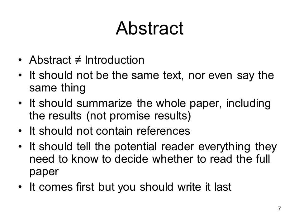 Abstract Abstract ≠ Introduction