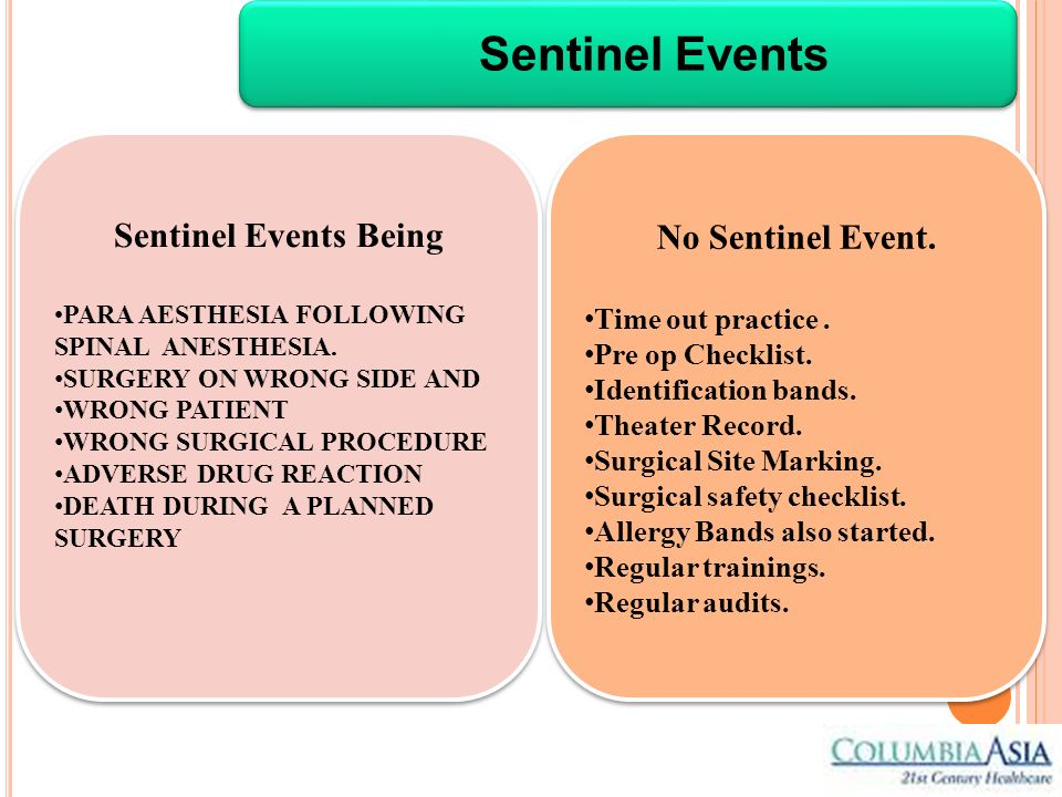 Sentinel Events Sentinel Events Being No Sentinel Event.