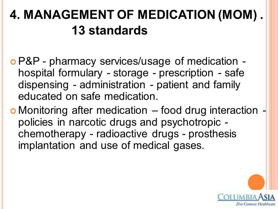 4. MANAGEMENT OF MEDICATION (MOM) . 13 standards
