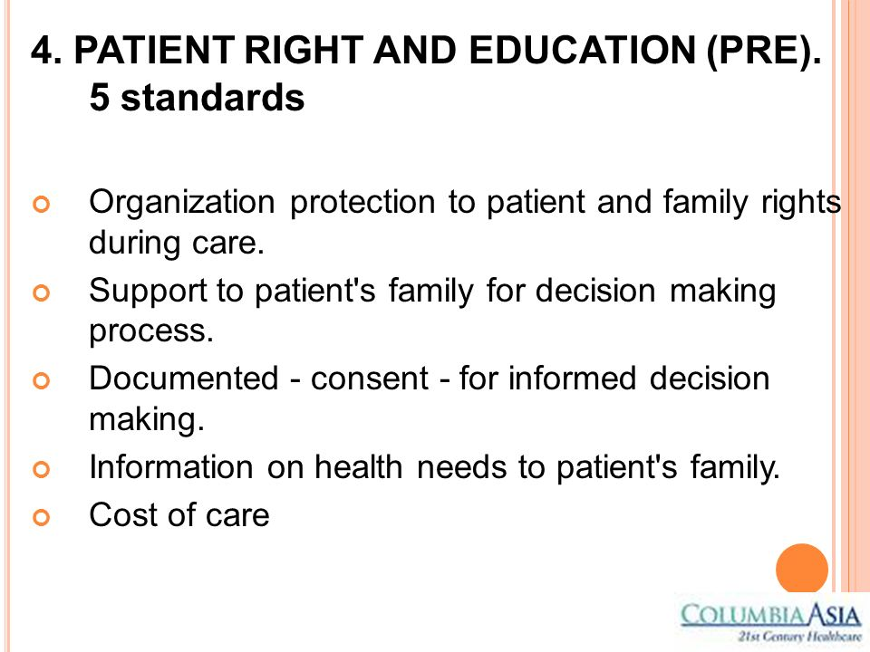 4. PATIENT RIGHT AND EDUCATION (PRE). 5 standards