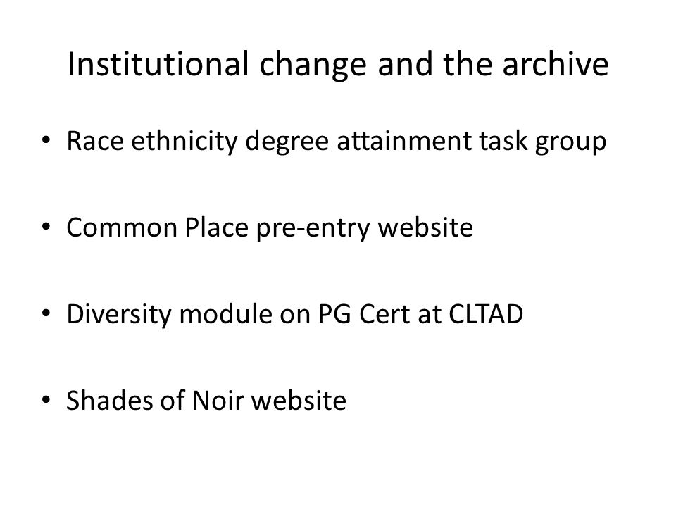 Institutional change and the archive