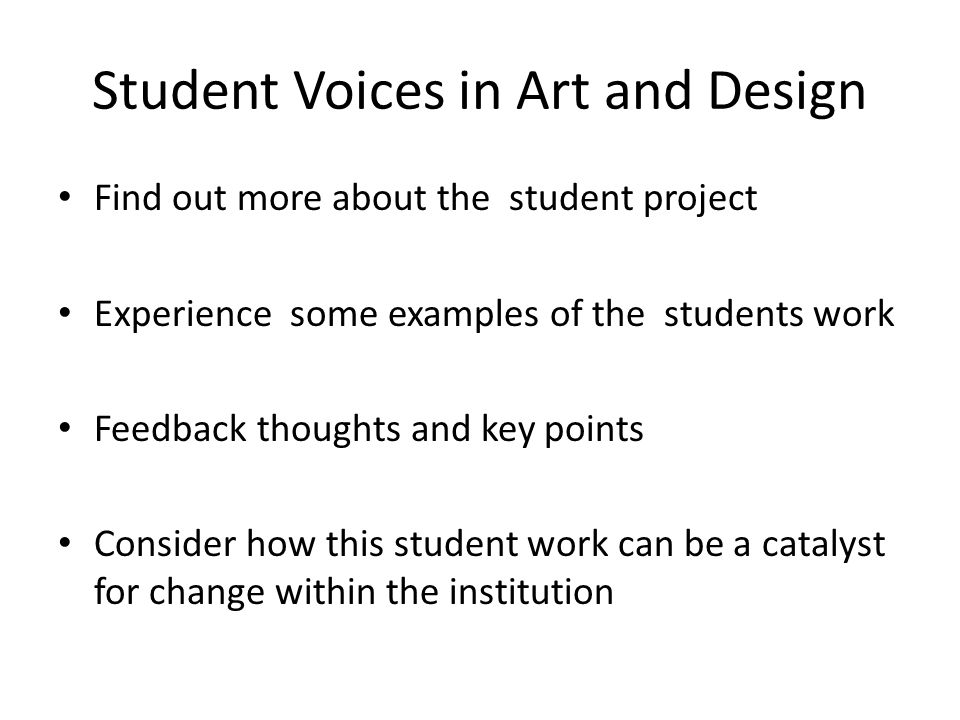 Student Voices in Art and Design