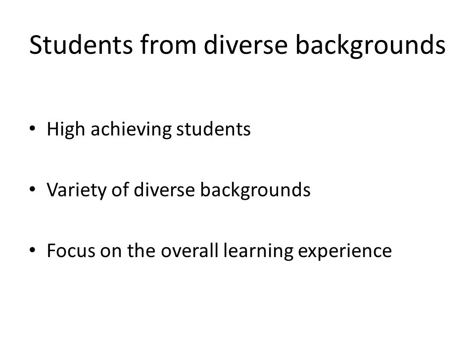 Students from diverse backgrounds