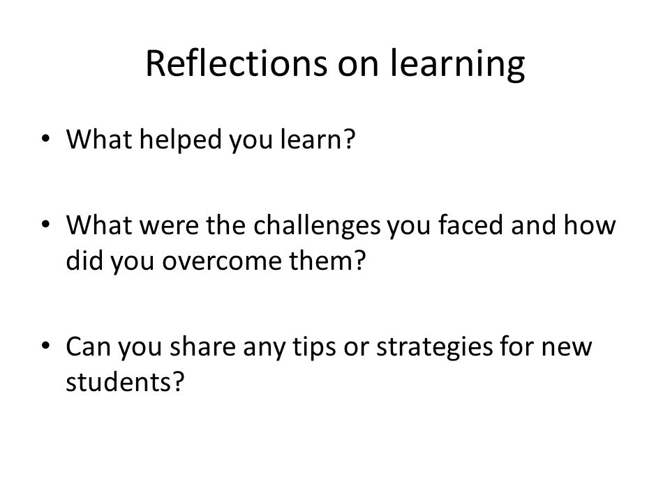 Reflections on learning