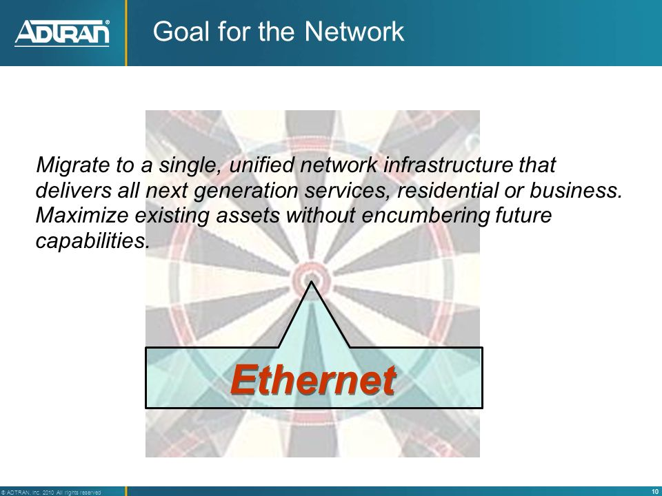 Ethernet Goal for the Network