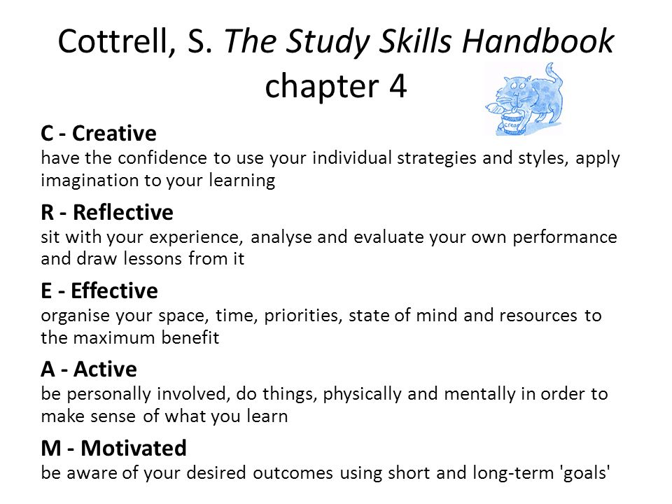 Cottrell, S. The Study Skills Handbook chapter 4