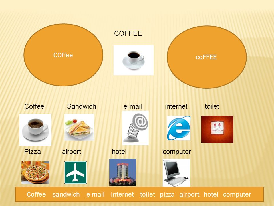 Coffee sandwich e-mail internet toilet pizza airport hotel computer